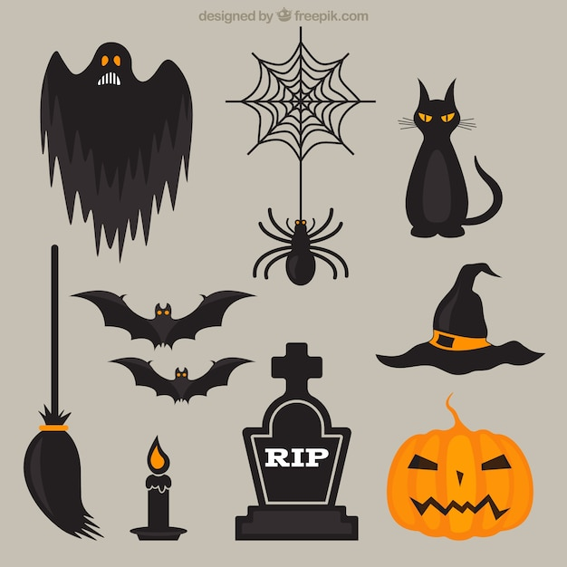 Elementos scary halloween Vetor grátis