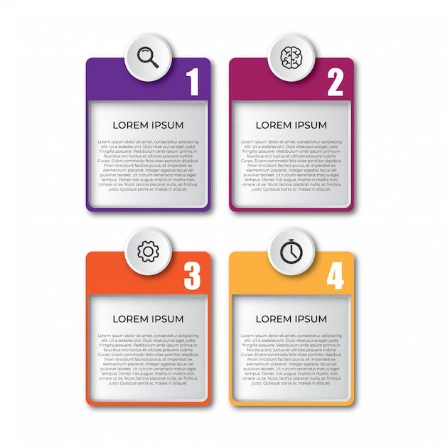 Elementos simples modelo infográfico 3d Vetor Premium
