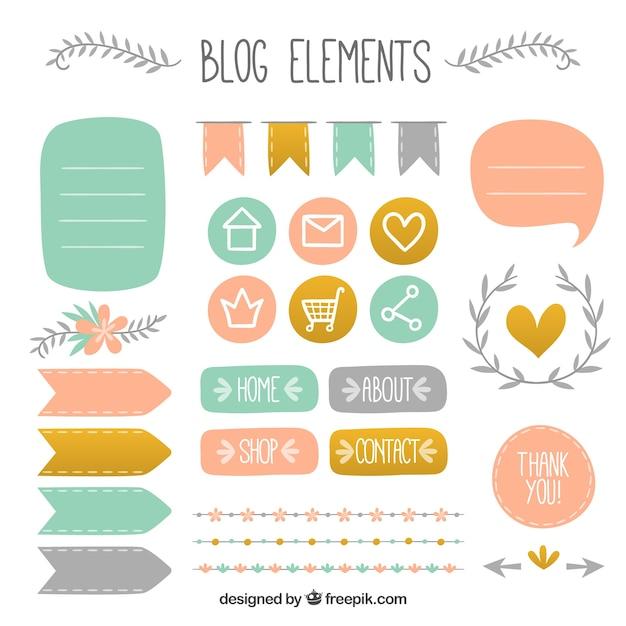 Elementos tirados mão bonitas para blogue Vetor grátis