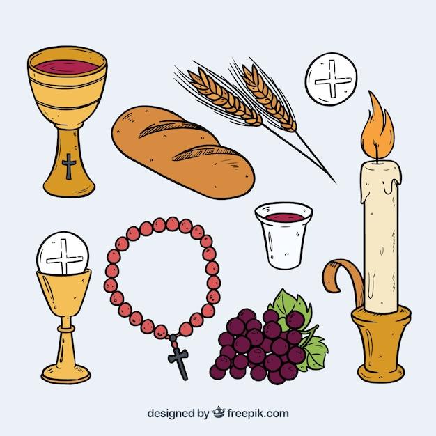 Elementos tradicionais tradicionais de comunhão desenhados à mão Vetor grátis