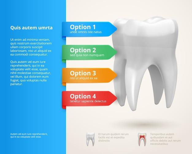 Elementos vetoriais de infográficos de odontologia com fitas e opções Vetor Premium