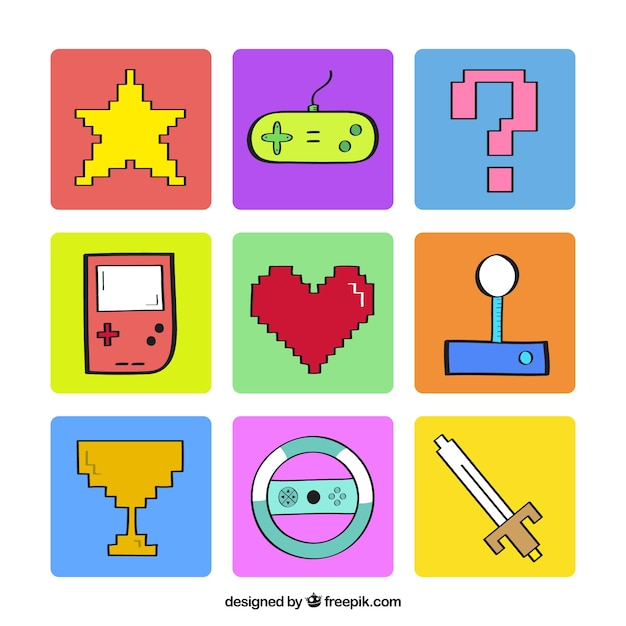 Elementos videogame pixelizada Vetor grátis