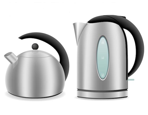Elétrica e chaleira para fogão a gás. Vetor Premium
