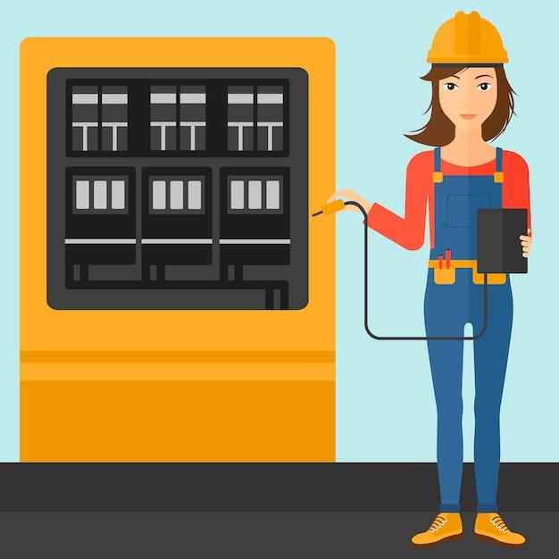 Eletricista com equipamento elétrico. Vetor Premium