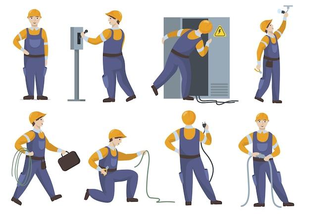 Eletricista profissional em uniforme, reparando conjunto plano de elementos elétricos. Vetor grátis