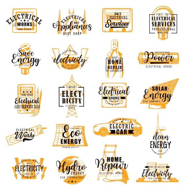 Eletricista, serviço de eletricidade letras ícones Vetor Premium