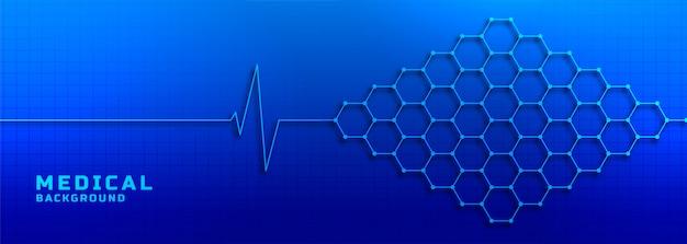Eletrocardiograma com estrutura molecular médica e plano de saúde Vetor grátis