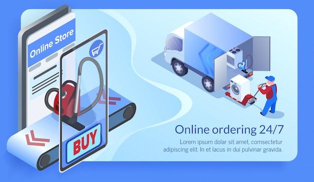 Eletrodomésticos comprando e enviando com telefone. Vetor Premium