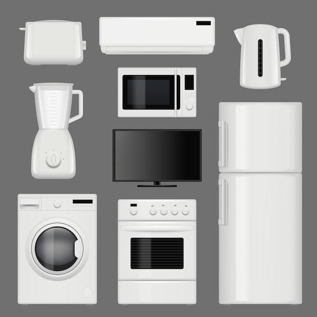 Eletrodomésticos realistas. fotos de ferramentas de cozinha em aço inoxidável moderno isoladas Vetor Premium