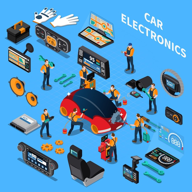 Eletrônica do carro e conceito de serviço Vetor grátis