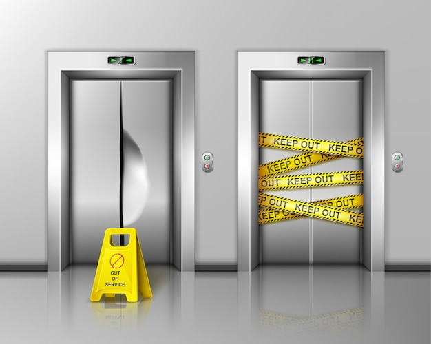 Elevadores quebrados fechados para reparo ou manutenção. Vetor grátis