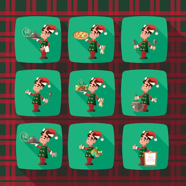 Elf dos desenhos animados para festa de natal e ano novo Vetor Premium