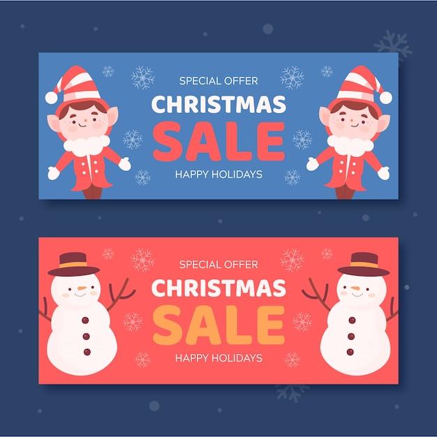 Elfos e bonecos de neve banners de venda de natal Vetor grátis