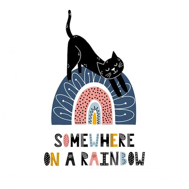 Em algum lugar no arco-íris, imprima com um gato fofo. estilo escandinavo Vetor Premium