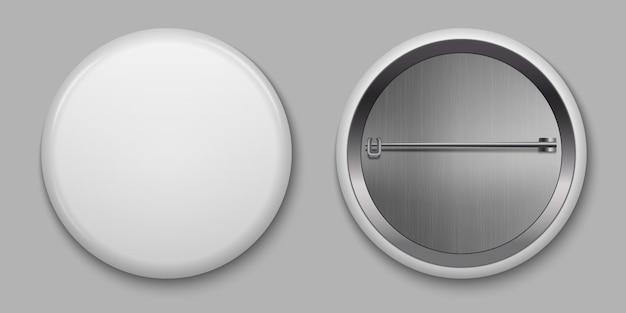Em branco branco distintivo brilhante com pin ilustração vetorial Vetor Premium
