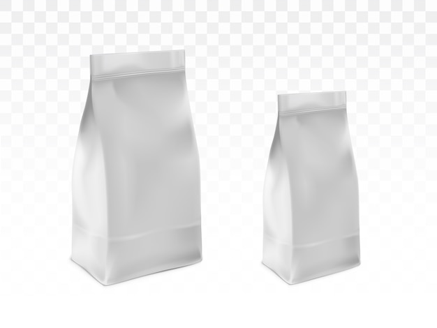 Em branco branco, selado sacos de plástico vetor realista Vetor grátis
