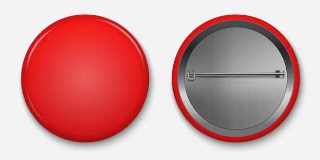 Em branco emblema vermelho brilhante com pin ilustração vetorial Vetor Premium