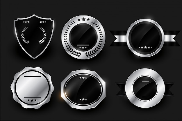 Em branco prata brilhante etiquetas e emblemas design Vetor grátis