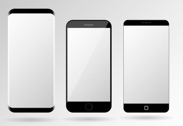 Em branco telemóveis tela maquete vetor smartphone modelo conjunto Vetor Premium