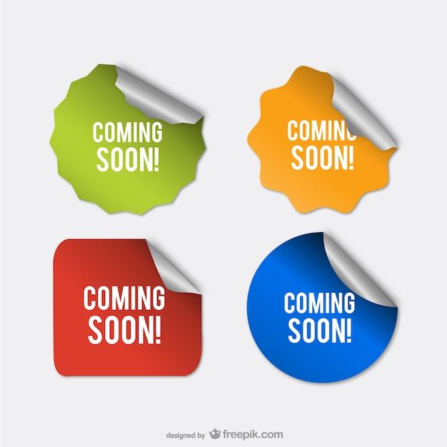 Em breve adesivos Vetor Premium