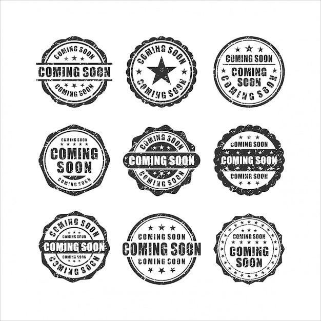 Em breve coleção stamps design Vetor Premium