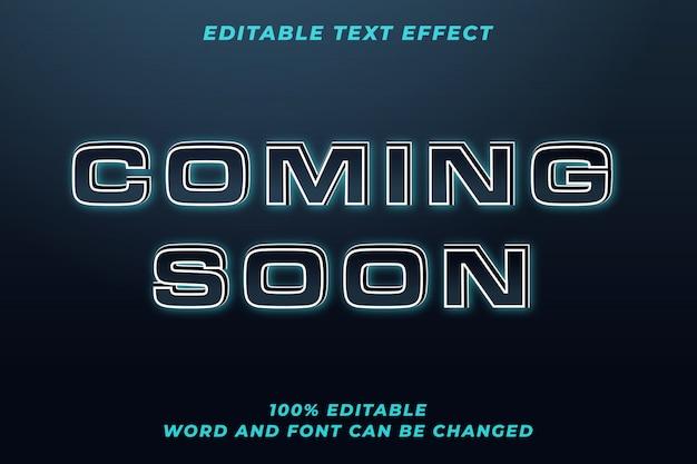 Em breve efeito de estilo de texto techno Vetor Premium