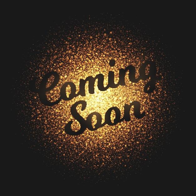 Em breve fundo dourado brilhante de partículas Vetor Premium