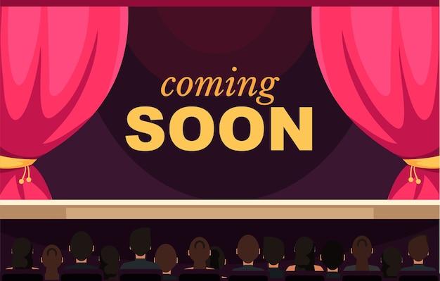 Em breve modelo de banner público espectadores sentados em personagens de desenhos animados do musichall Vetor Premium