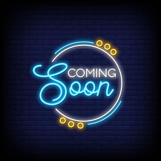Em breve para cartaz em estilo neon Vetor Premium
