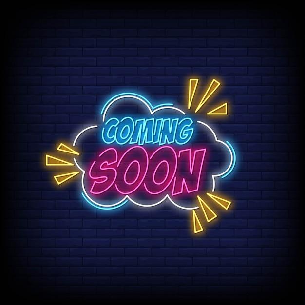Em breve vetor de sinal de néon para cartaz Vetor Premium