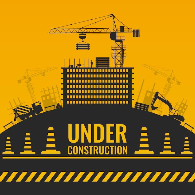 Em construção, design de silhuetas com construção e equipamentos na fita de barreira de colina e cones Vetor grátis