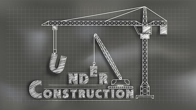 Em construção. estilo de quadro misturado com técnica de corte de papel. Vetor Premium