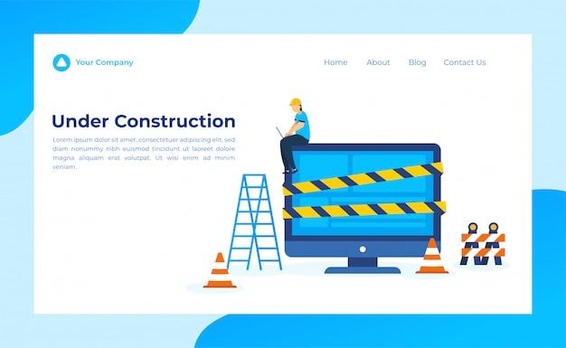 Em construção landing page Vetor Premium