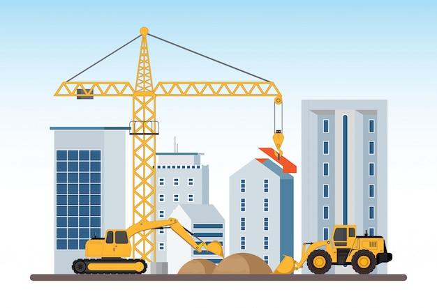 Em construção processo de trabalho de construção com máquinas de construção. Vetor Premium