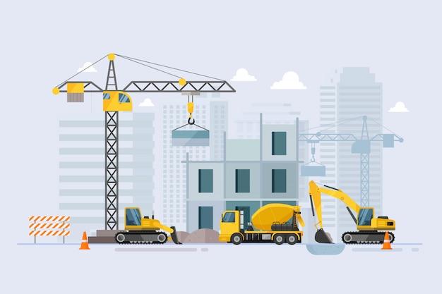 Em construção processo de trabalho de construção Vetor Premium