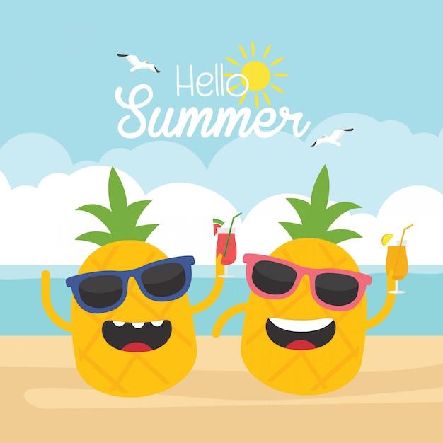 Em férias de verão, design.symbol de personagem de abacaxi. fundo branco. Vetor Premium