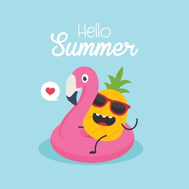 Em férias de verão, ilustração vetorial, flamingo inflável com um abacaxi em uma piscina Vetor Premium