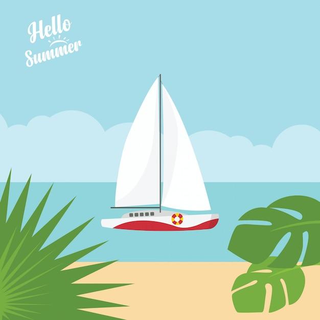 Em férias de verão, mar noite azul tropical e paisagem de praia com iate de luxo Vetor Premium