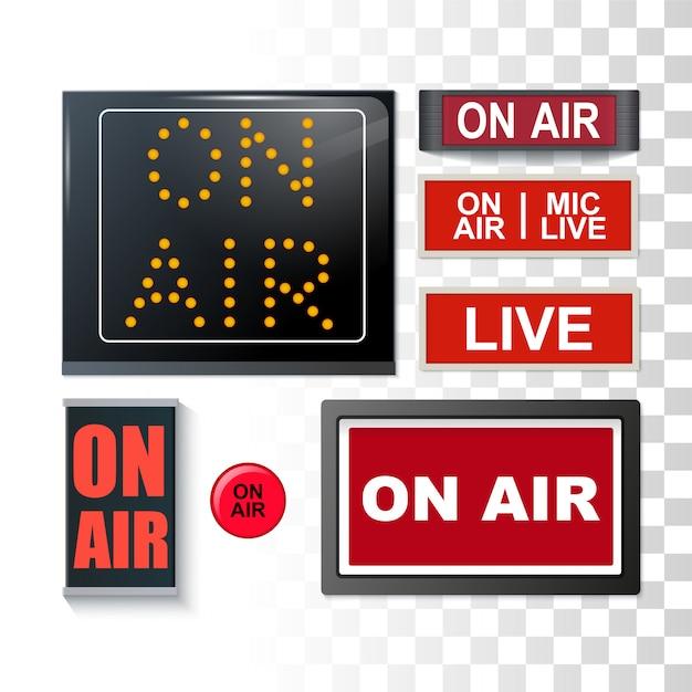 Em sinais de radiodifusão do ar Vetor Premium