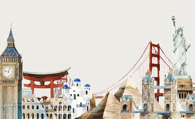 Em todo o mundo ilustração aquarela Vetor grátis