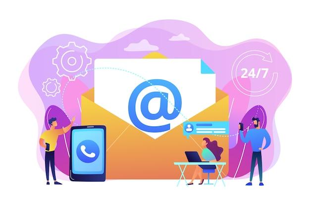 Email marketing, chat na internet, suporte 24 horas. entre em contato, inicie contato, fale conosco, feedback formulário online, fale com o conceito de clientes. Vetor grátis