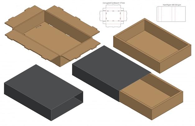 Embalagem caixa de design de modelo de corte. 3d Vetor Premium