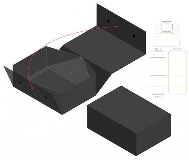 Embalagem caixa de design de modelo de corte. mock-up 3d Vetor Premium