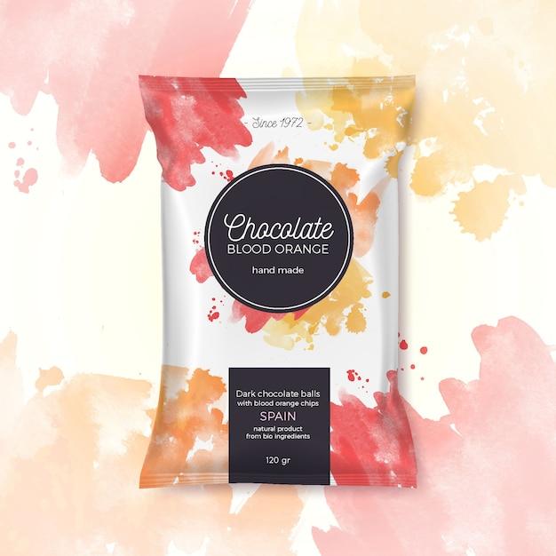 Embalagem colorida de laranja de sangue de chocolate Vetor grátis