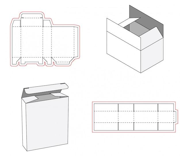 Embalagem de caixa simples cortado modelo de design Vetor Premium
