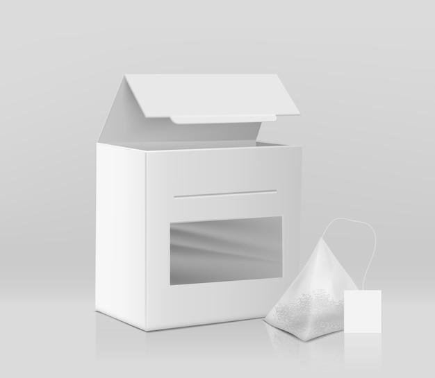 Embalagem de chá fresco modelo de maquete de vetor realista 3d Vetor grátis