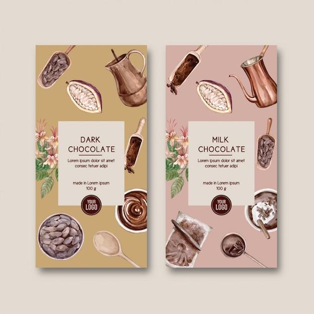Embalagem de chocolate com ingredientes ramo de cacau, watercol Vetor grátis