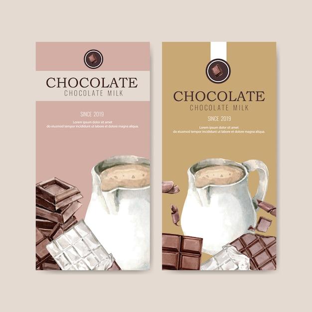 Embalagem de chocolate com leite de jarro e barra de chocolate, ilustração de aquarela Vetor grátis