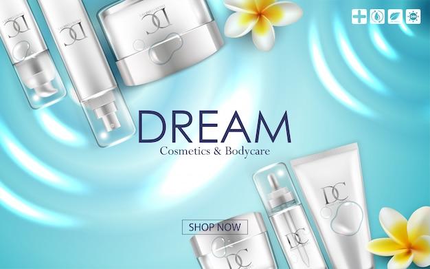 Embalagem de creme cosmético para cuidados com a pele Vetor Premium