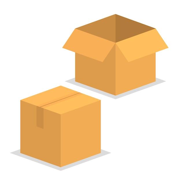 Embalagem de entrega em caixa aberta e fechada. Vetor Premium